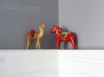 olive wood camel from Israel and rosemaling horse from Norway