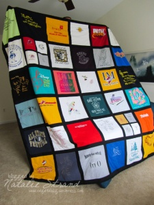 the T-shirt quilt is finally finished