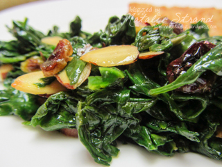 ATK sauteed baby spinach with almonds and golden raisins