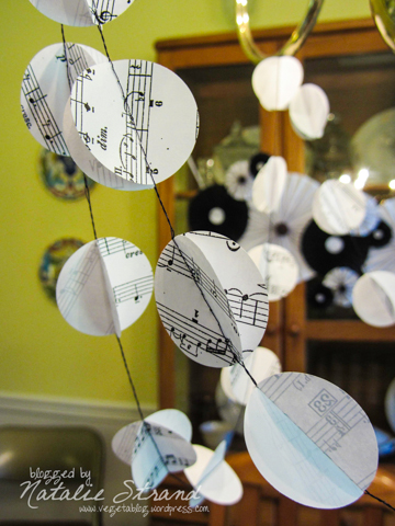 paper garland made by Mom for Nate's party