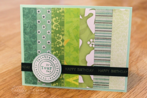 finished green ombre card