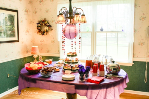 Decorations and food for Dayna's bridal shower