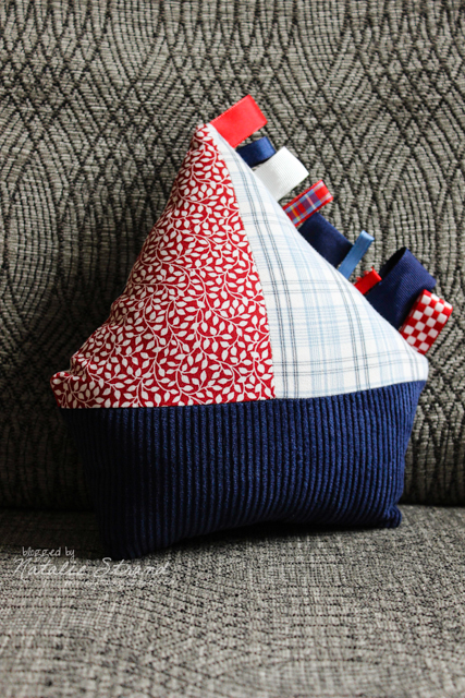 sailboat taggie pillow for our little boy