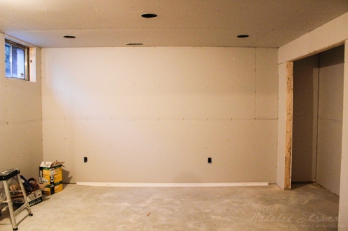basement progress: the drywall is up!!