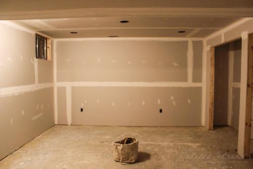 basement progress: drywall mudding