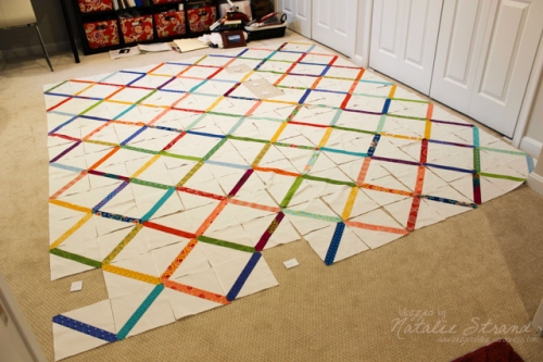 "Quilt layout: after a bit of rearranging; ""wild card"" squares selected"