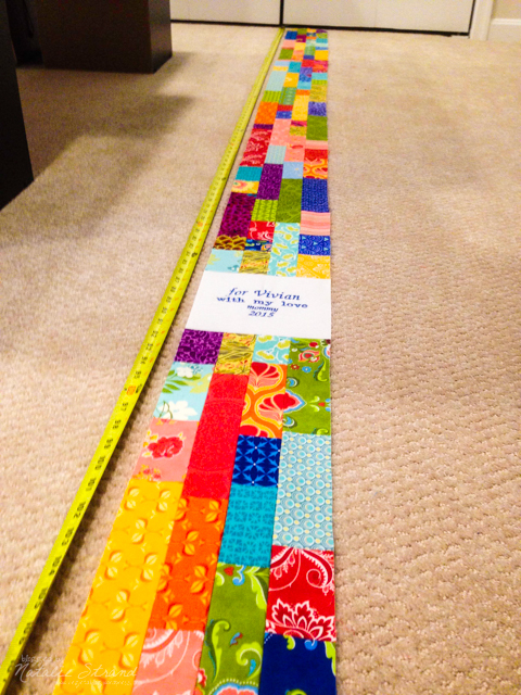 Finished pieced strip for the quilt back