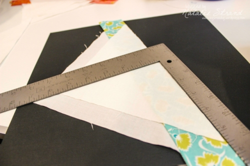 lining up the corners on a quilt block