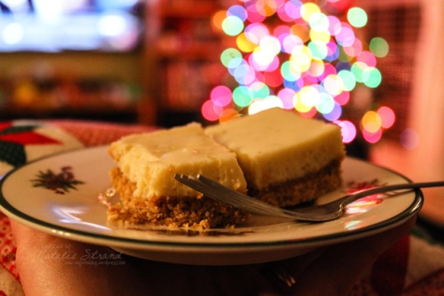 Cozy evening. ATK key lime bars while watching TV and enjoying the glow of the Christmas tree :)