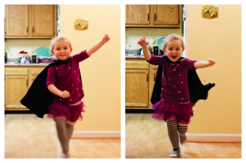 """Vivian was """"super"""" excited about her new princess cloak, which she thought was another superhero cape."""