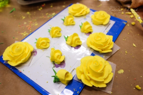 Wilton Course 2, week 2: royal icing roses, half-roses, and rosebuds