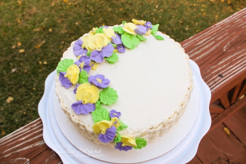 """beauty shot"" of my final cake for the Wilton Method Course 2"