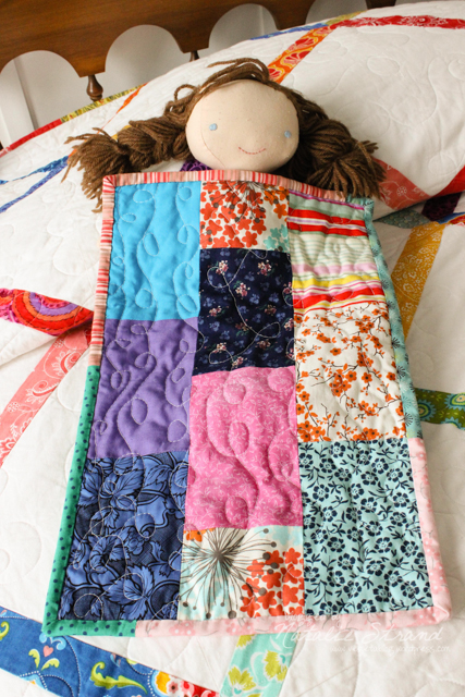 doll quilt made together with Vivian (pieced on her new sewing machine!)