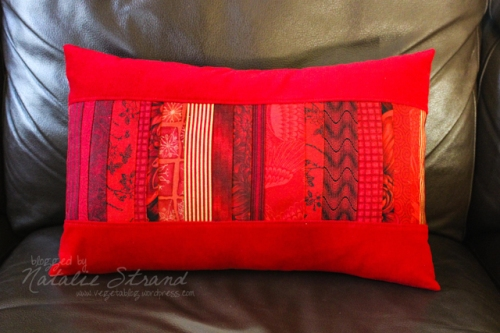 Christmas pillow cover-- made from leftover strips from my tree skirt!