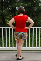 Barton shorts test pattern v2; short inseam, lace version, size L. I made an additional rise adjustment to the front as per some discussion after the first version fitting photos. Trimmed with vintage bias tape with lace edging.