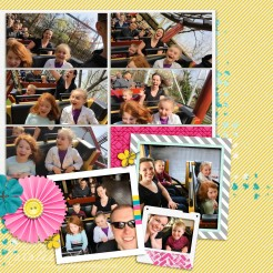 """photo book page for Hersheypark 2018. Digital supplies from The Lilypad's free """"Snapshots"""" blog hop kit (2018)"""