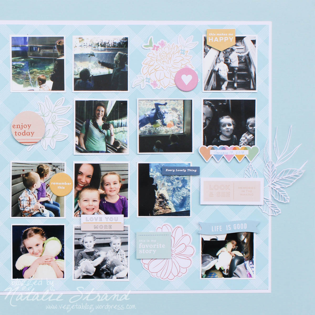 a layout about my favorite trip to the aquarium with V & B